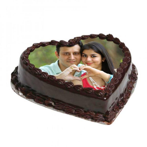 Heart Shape Photo Chocolate Cake