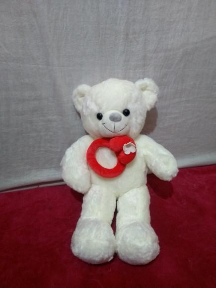 Round Tie White Standing Teddy Bear