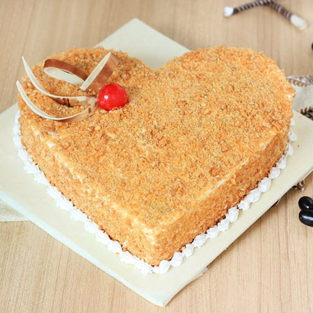 butterscotch-heart shaped-cake